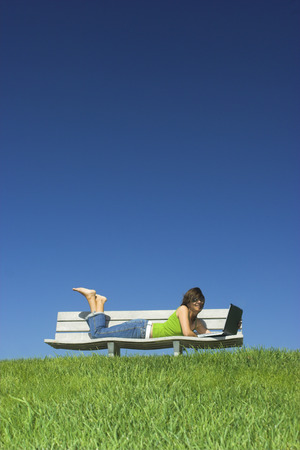 Woman in outdoor study with a laptop Stock Photo - 1483938