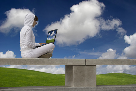 Woman working with a laptop sitting in a wall with a great view over a beautiful green meadow Stock Photo