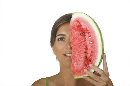 alf: Beautiful young woman holding a watermellon slice and just showing alf of the face