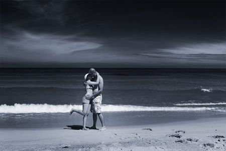 ps: Couple of boyfriends kissing on the beach (toned in PS)
