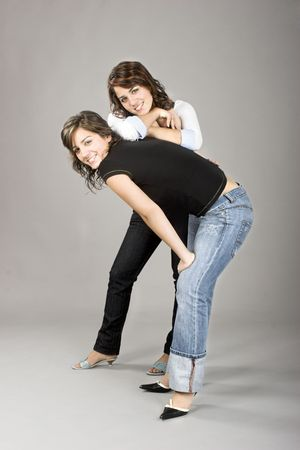 hugh: Two young beautiful sisters having fun - This models are true twins
