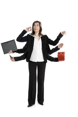 Beautiful business woman with six arms, making a call and holding, glasses, briefcase, pen, lipstick and a red box