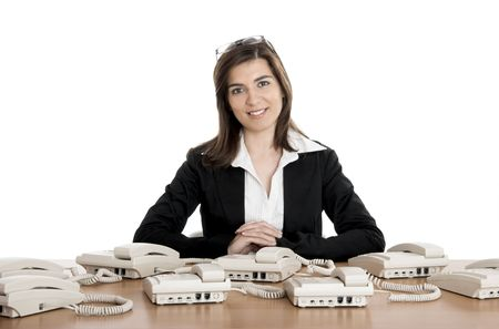 Beautiful woman very busy working on call center Stock Photo - 2532424