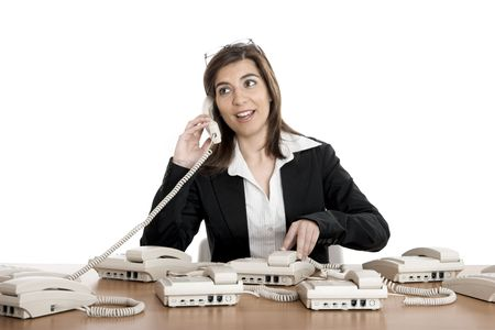 Beautiful woman very busy working on call center Stock Photo - 2532431