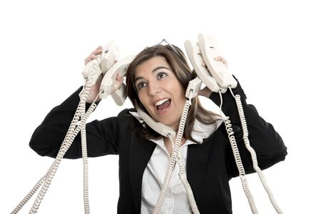 Busy woman working and answering a lot of calls at the same time Stock Photo - 2532760