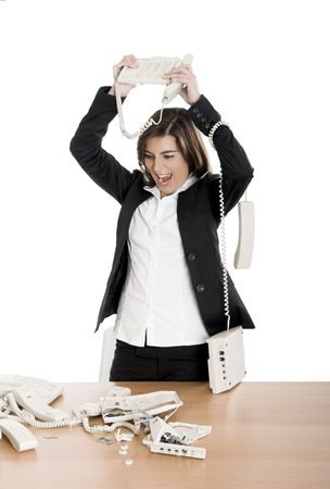 Busy woman working and answering a lot of calls at the same time Stock Photo - 2532416