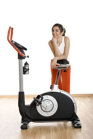 Beautiful young woman on the gym after making exercise Stock Photo - 2591850