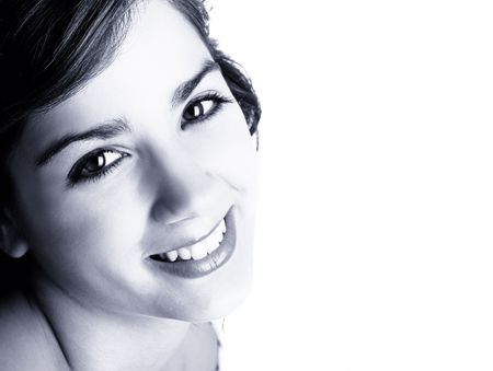 ps: Isolated portrait of a beautiful young woman, happy and smiling (toned in PS)