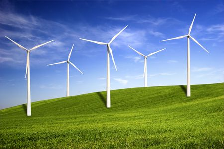Beautiful green meadow with Wind turbines generating electricity Stock Photo - 2953955