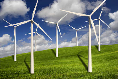 Beautiful green meadow with Wind turbines generating electricity Stock Photo - 2953957