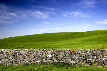 Beautiful green meadow with a old Stone wall  Stock Photo