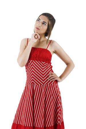 Portrait of a beautiful young woman isolated on white with a red dress photo