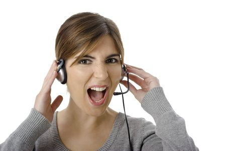 Close-up portrait of an attractive business woman with headset photo