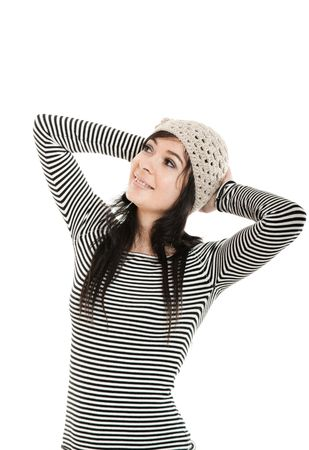 Portrait of an attractive young woman smiling, isolated on a white background Stock Photo - 4485289