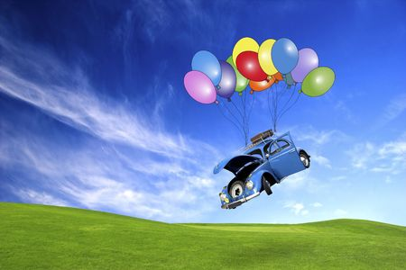 open car door: Beautiful beetle car with doors open falling from the sky with ballons