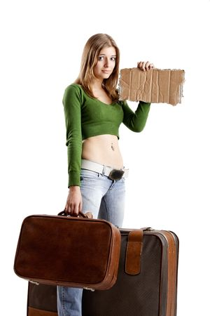 Beautiful young woman hitch hiking with card tablet Stock Photo - 5036101