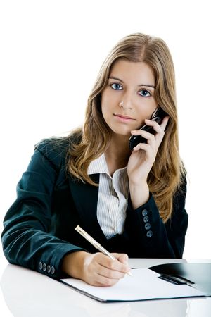Portrait of a beautiful business woman in the office using a cellphone Stock Photo - 5350931