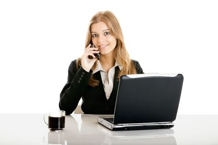 Portrait of a beautiful business woman in the office using a cellphone Stock Photo - 5350883