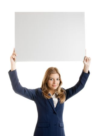 Portrait of a beautiful business woman holding a blank billboard over her head. photo