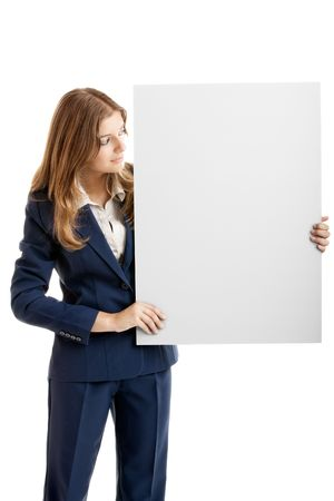 notecard: Portrait of a beautiful business woman holding a blank billboard Stock Photo