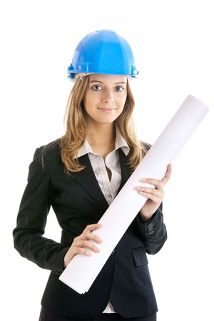 female architect: Beautiful and young  female architect using a blue helmet Stock Photo