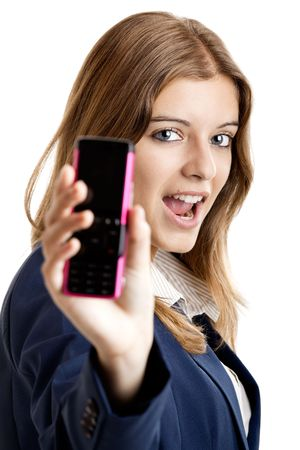 Portrait of a beautiful businesswoman using mobile phone - Focus is on the model photo