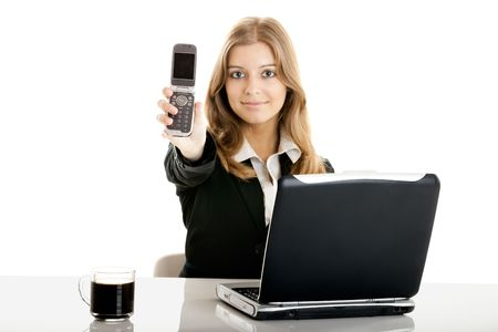 Portrait of a beautiful business woman in the office using a cellphone Stock Photo - 5429332