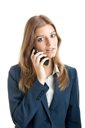 Portrait of a beautiful businesswoman using mobile phone photo