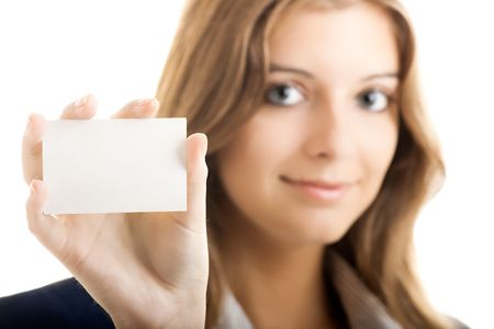 beautiful business woman holding a blank notecard - Focus is on the card Stock Photo