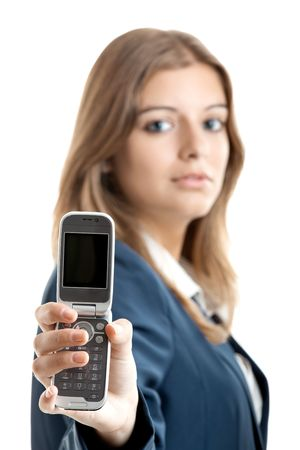 Portrait of a beautiful businesswoman using mobile phone - Focus is on the cellphone Stock Photo - 5636086