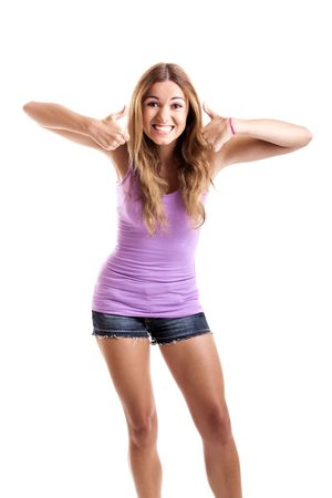 Portrait of a beautiful happy young  woman showing thumbs up Stock Photo - 5636103