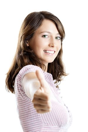 Portrait of a beautiful happy young  woman showing thumbs up Stock Photo - 5636156