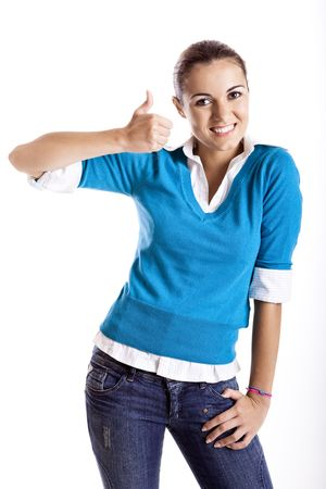 Portrait of a beautiful female student with thumbs up, isolated on white Stock Photo - 5767964