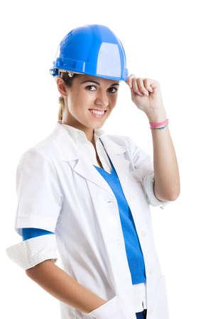 female architect: Portrait of a beautiful female technician, isolated over white  Stock Photo