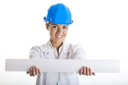 Portrait of a young happy female architect holding a project, isolated on white background photo