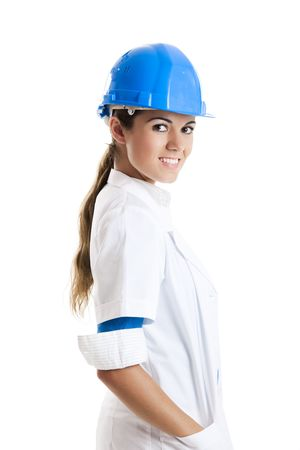 Portrait of a beautiful female technician, isolated over white  photo