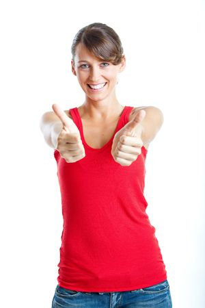 Portrait of a beautiful young  woman with thumbs up, isolated on white photo
