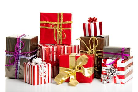 Christmas gifts isolated on a white background photo