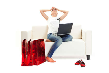 Woman at home tired of christmas shopping, Consumerism concept