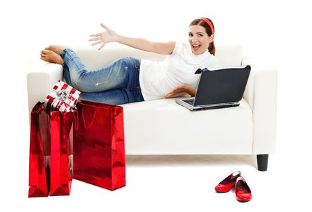 Beautiful young woman at home doing online shop, Consumerism concept Stock Photo - 6019348