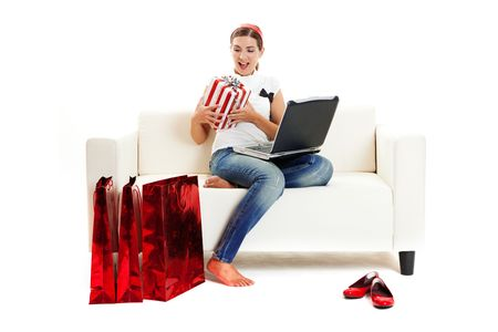 consumerism: Beautiful young woman at home doing online shop, Consumerism concept