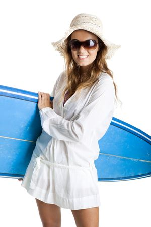Beautiful young woman posing with a surfboard, isolated on white Stock Photo - 6143461