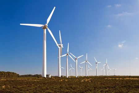 Windturbines farm generating clean power energy Stock Photo - 6197655