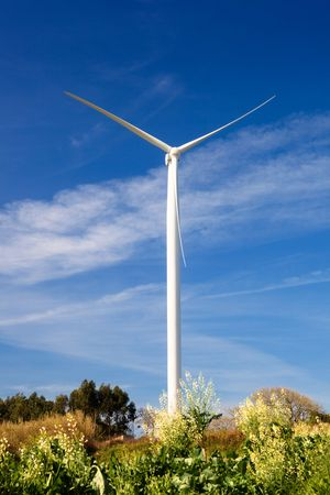 Wind turbine on a beautiful green meadow, energy concept Stock Photo - 6197650