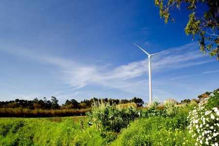 Wind turbine on a beautiful green meadow, energy concept Stock Photo - 6197657