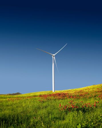 Beautiful green meadow with a wind turbine generating electricity Stock Photo - 6197654