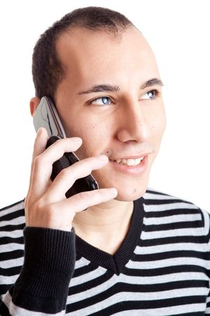 Happy young guy talking on cellphone isolated on white background Stock Photo - 6393200
