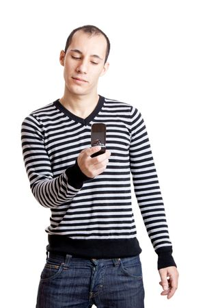 Happy young guy sending a text message,  isolated on white background Stock Photo - 6393291