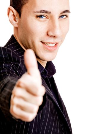 Portrait of a young businessman showing thumbs up, isolated on white background photo