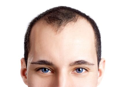look up: Close-up portrait of a young man with blue eyes isolated on white - OBS: model use lens contact Stock Photo